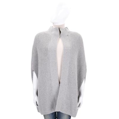 Max Mara 灰色直紋針織羊毛罩衫外套(80%WOOL)