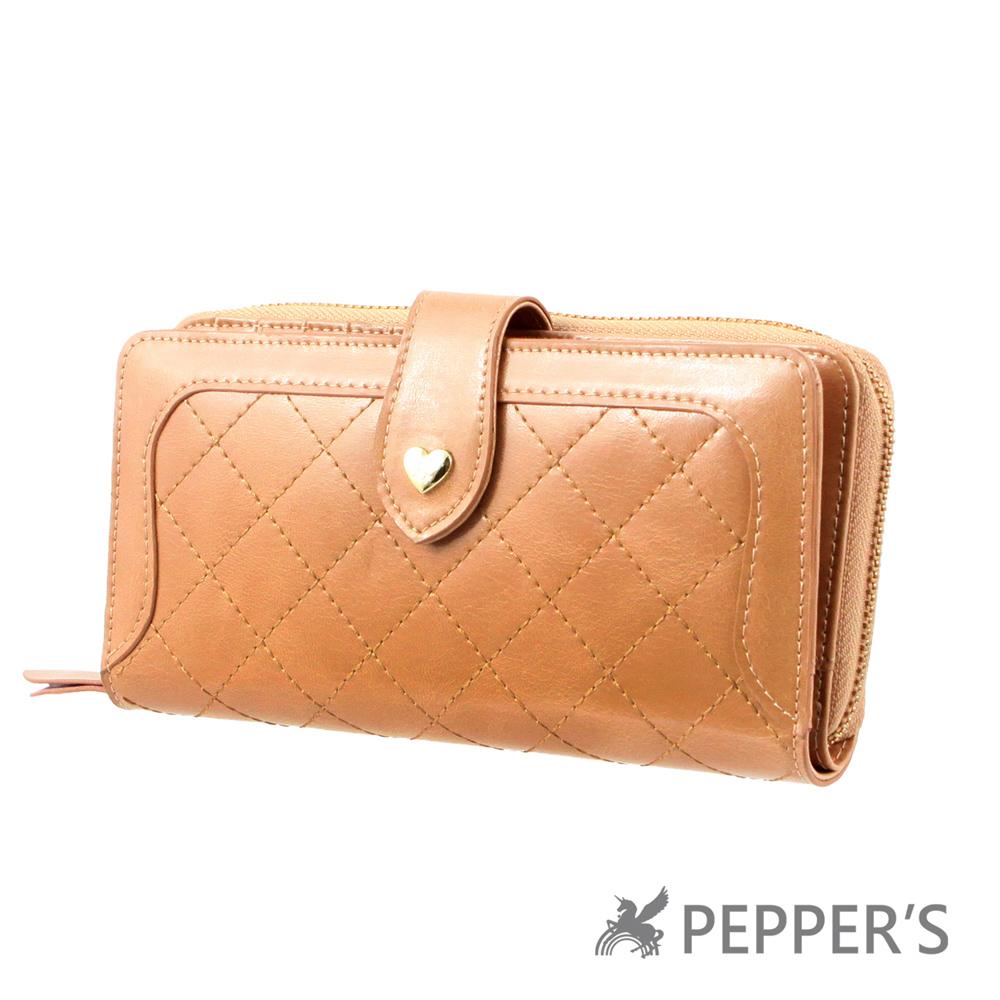 PEPPER`S     亮彩菱格紋牛皮長夾-淺棕