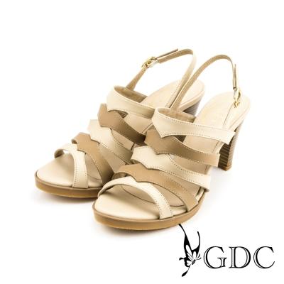 GDC-性感時尚雙色側扣帶真皮羅馬高跟涼鞋-米杏色