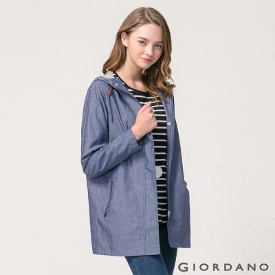 GIORDANO 女裝中長版魔鬼氈袖口連帽休閒外套 - 78 中藍