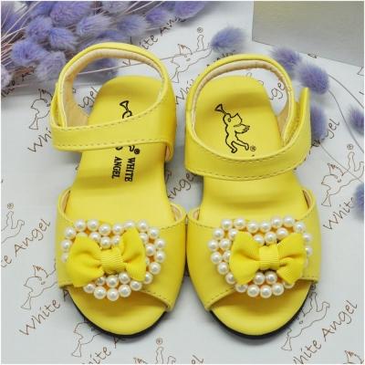 天使童鞋-C234 愛心蝴蝶結珍珠涼鞋(小童)-黃