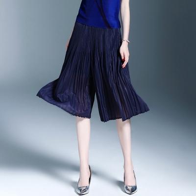 時尚百搭藍色壓摺休閒褲-糖潮
