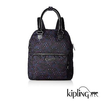 Kipling 後背包 迷彩潑墨印花-大