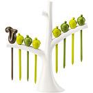 KOZIOL 樹梢松鼠短叉(白棕綠8入)