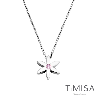 TiMISA《花漾年華(M)-晶鑽版》純鈦項鍊C (共三色)