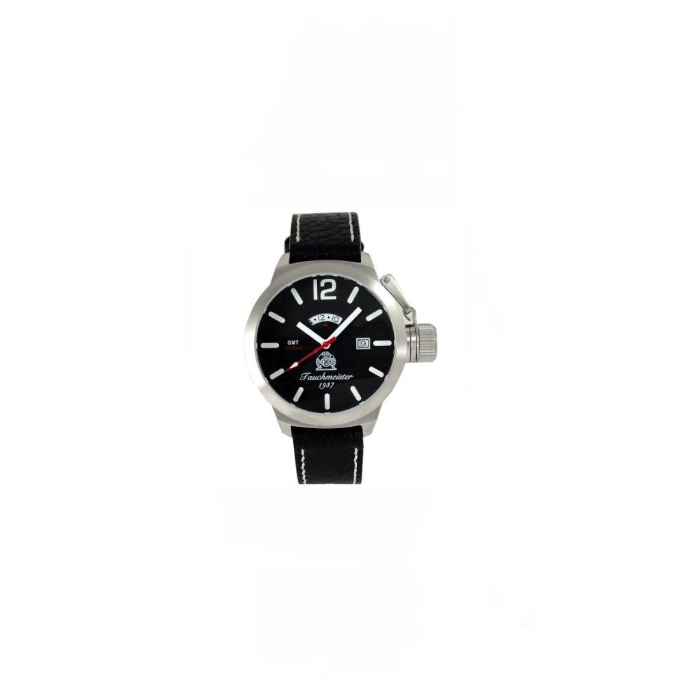 Tauchmeister1937 德國蛟龍傳奇GMT雙時區潛水錶-黑/46mm