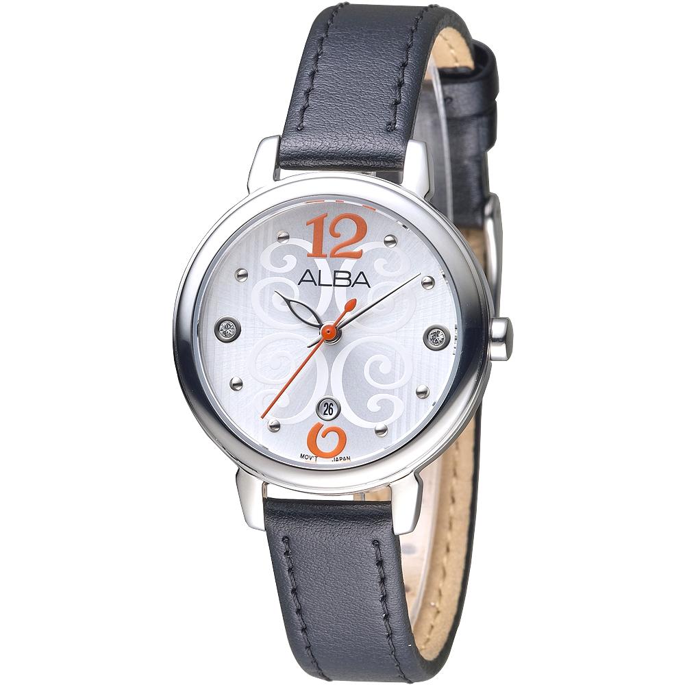 ALBA雅柏手錶 佛洛拉女神晶鑽時尚女錶-銀白/黑帶(AH7L65X1)/30mm 保固二年