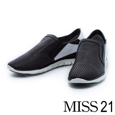 休閒鞋-MISS-21-率性運動拼色菱格孔牛皮輕量休閒鞋-黑