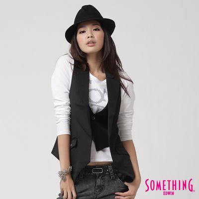 SOMETHING 玩酷美學西裝式背心-女款(黑色)