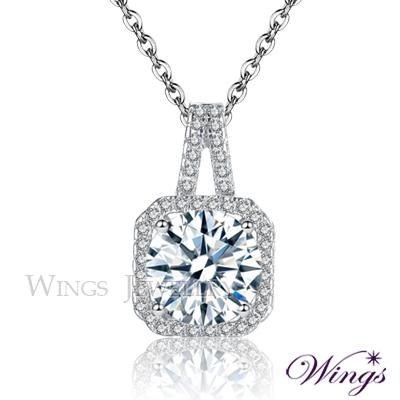 Wings 淬鍊 二克拉擬真鑽吊墜 八心八箭方晶鋯石精鍍白K金項鍊