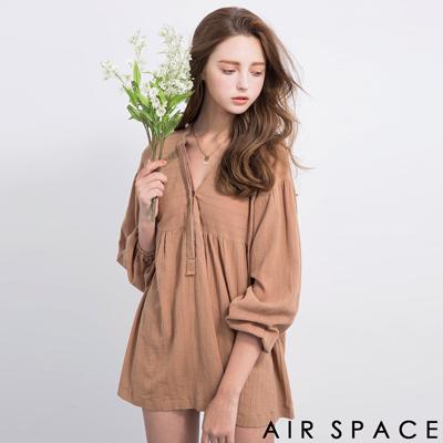 AIR-SPACE-甜美排釦領棉麻洋裝-卡其