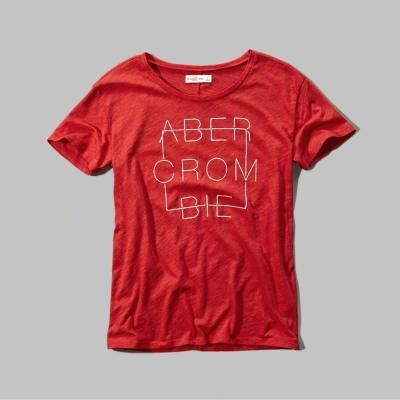 AF a&f Abercrombie & Fitch 女T恤 紅色 0017