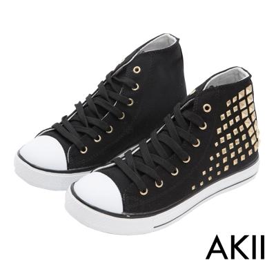 AKII韓國空運‧鉚釘百搭內增高休閒高筒帆布鞋-黑