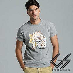 水彩印地安骷髏頭磨毛水洗T恤(共二色)-GraphicSpace