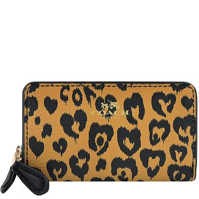 COACH 咖啡色豹紋愛心PVC雙層拉鍊名片夾/零錢包