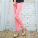 Victoria 後染燙鑽窄直筒褲-女-粉紅