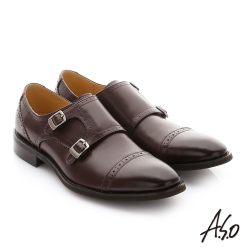A.S.O 職人通勤 牛皮鬆緊帶皮鞋 咖啡色