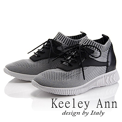 Keeley Ann 樂活運動~率性綁帶襪套式休閒鞋(灰色-Asin系列)