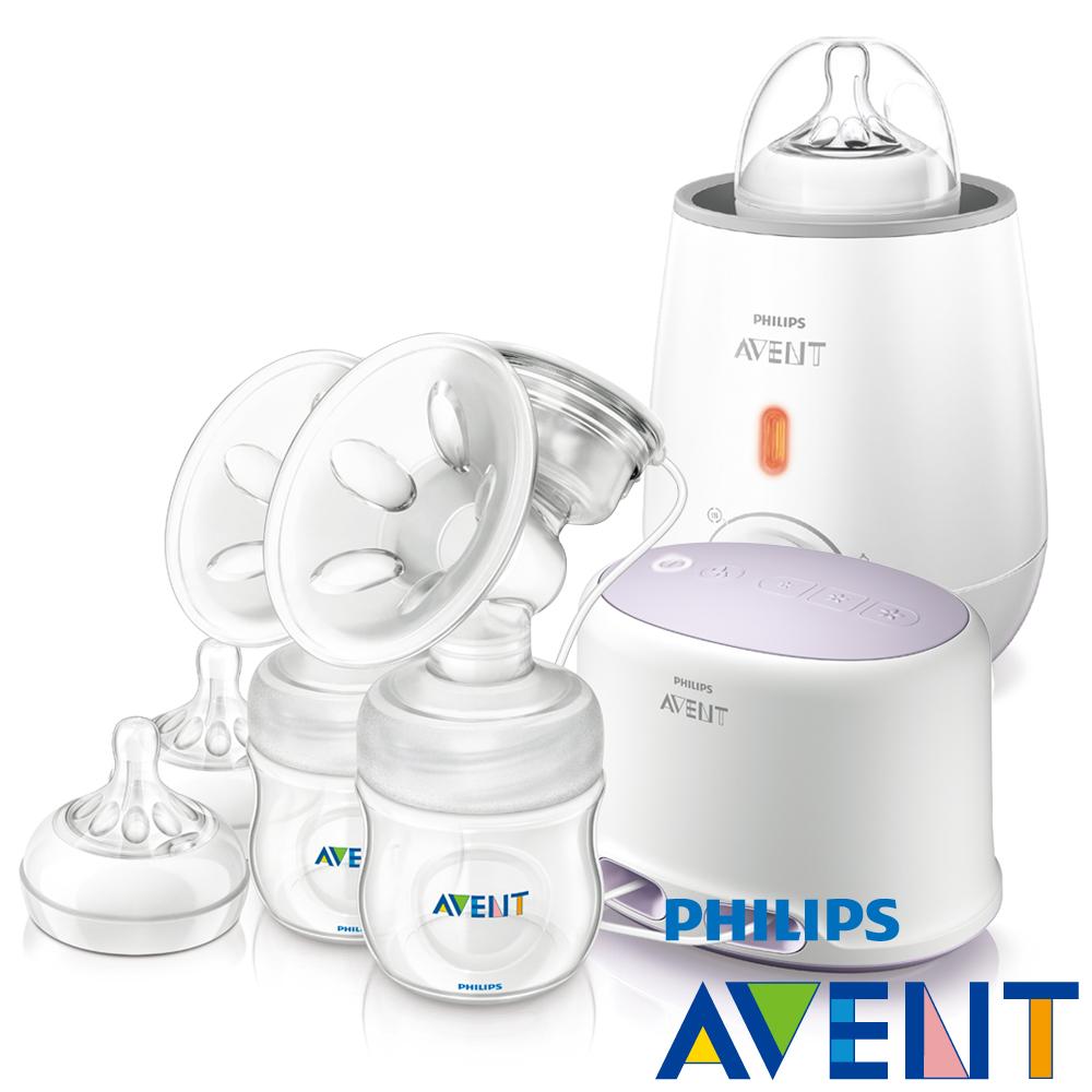 [下殺44折]PHILIPS AVENT輕乳感PP專業型雙邊電動吸乳器+快速食品加熱器