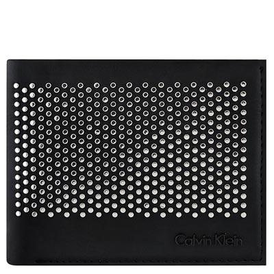Calvin Klein 黑色皮革鉚釘雙摺短夾