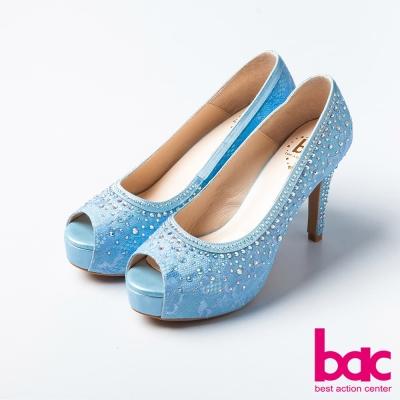 bac愛情蕾絲鑲鑽典藏蕾絲紋魚口高跟鞋淺藍