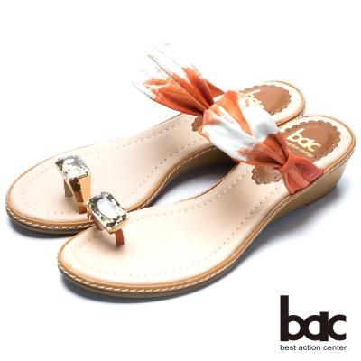 bac裸肌美腳 寶石水鑽夾腳鞋-桔色