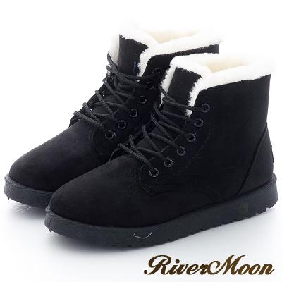 River&Moon雪靴-俏麗休閒短絨內撲毛綁帶短雪靴-黑
