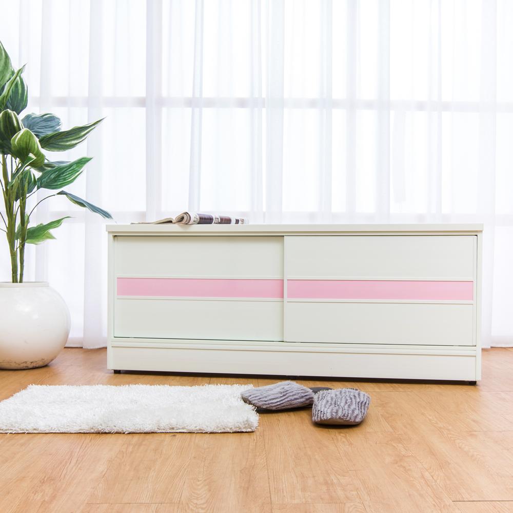 Birdie南亞塑鋼-4尺拉門/推門塑鋼坐式鞋櫃/穿鞋椅白色+粉紅-121x41x50cm