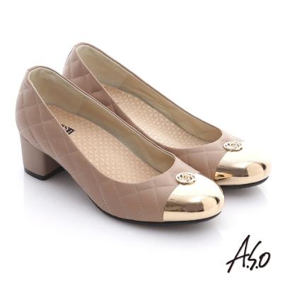 A.S.O 經典時刻 牛皮菱形車格經典奢華粗跟鞋 卡其