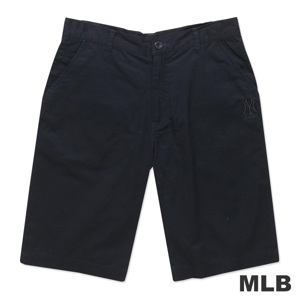 MLB-紐約洋基隊LOGO休閒水洗短褲-深藍(男)