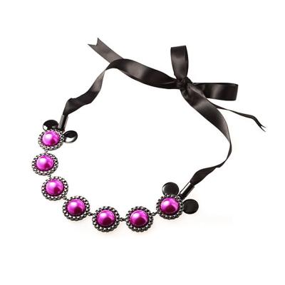 迪士尼 DISNEY COUTURE 米妮系列 桃紅珍珠米妮 黑色緞帶蝴蝶結長項鍊