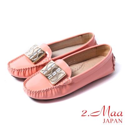 2.Maa真皮系列-時尚經典閃亮鑽飾釦環牛漆皮休閒樂福鞋-氣質粉