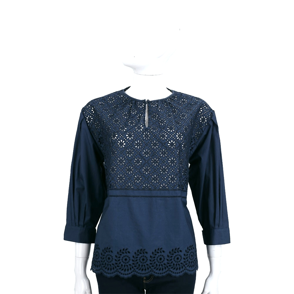 PHILOSOPHY 深藍色菱格縷空織花七分袖上衣