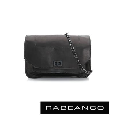 RABEANCO-迷時尚牛皮系列鍊帶雙層轉釦方包-大-黑