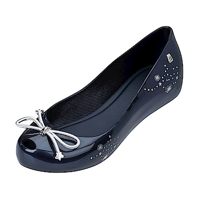 Melissa 夏日星空星星蝴蝶結魚口鞋-藍/銀
