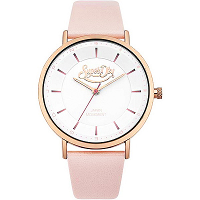 Superdry 極度乾燥簡約質感時尚皮革手錶-白X玫瑰金框/40mm