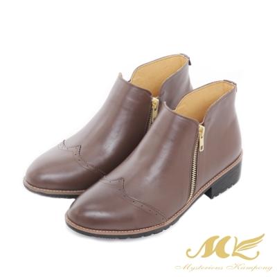 MK-台灣全真皮-英倫牛津雕花拼接平底粗跟短靴-深咖