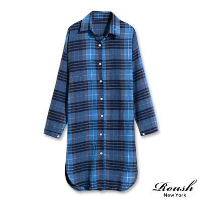 ROUSH 女生長版法蘭絨格紋襯衫 (2色)