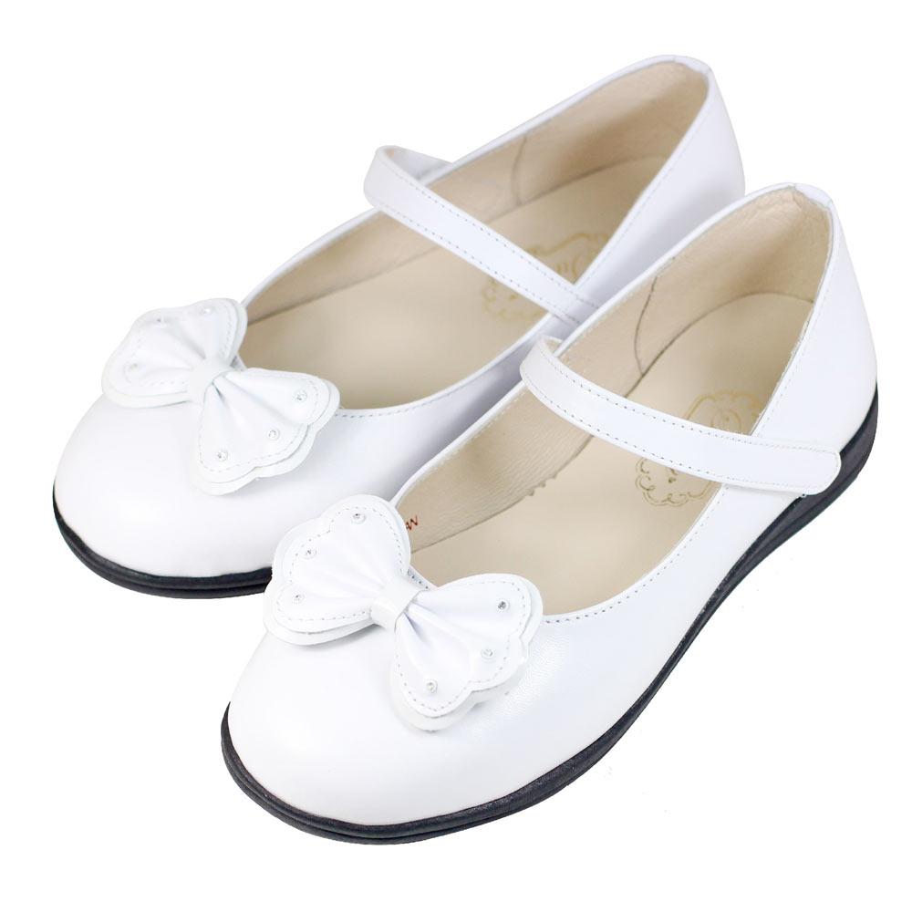 Swan天鵝童鞋-鑲鑽蝴蝶結學生鞋8646-白