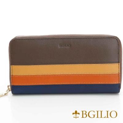 義大利BGilio - NAPPA牛皮經典條紋拉鏈長夾(限量)灰褐色1942.323-06