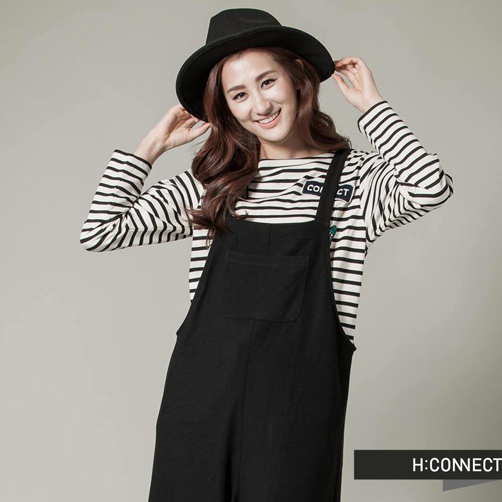 H:CONNECT 韓國品牌 女裝-CONNECT塗鴉條紋上衣 -白 (快)