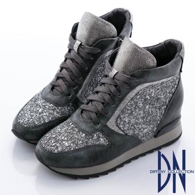DN 街頭魅力 牛皮拼接異材質綁帶厚底休閒鞋-灰