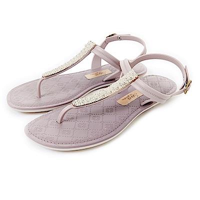 GRENDHA 晶亮菱格紋T字帶涼鞋-粉紫