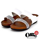 Aviator韓國空運-Ollie正韓製簡約壓紋純色皮革仿木紋軟底涼拖-白