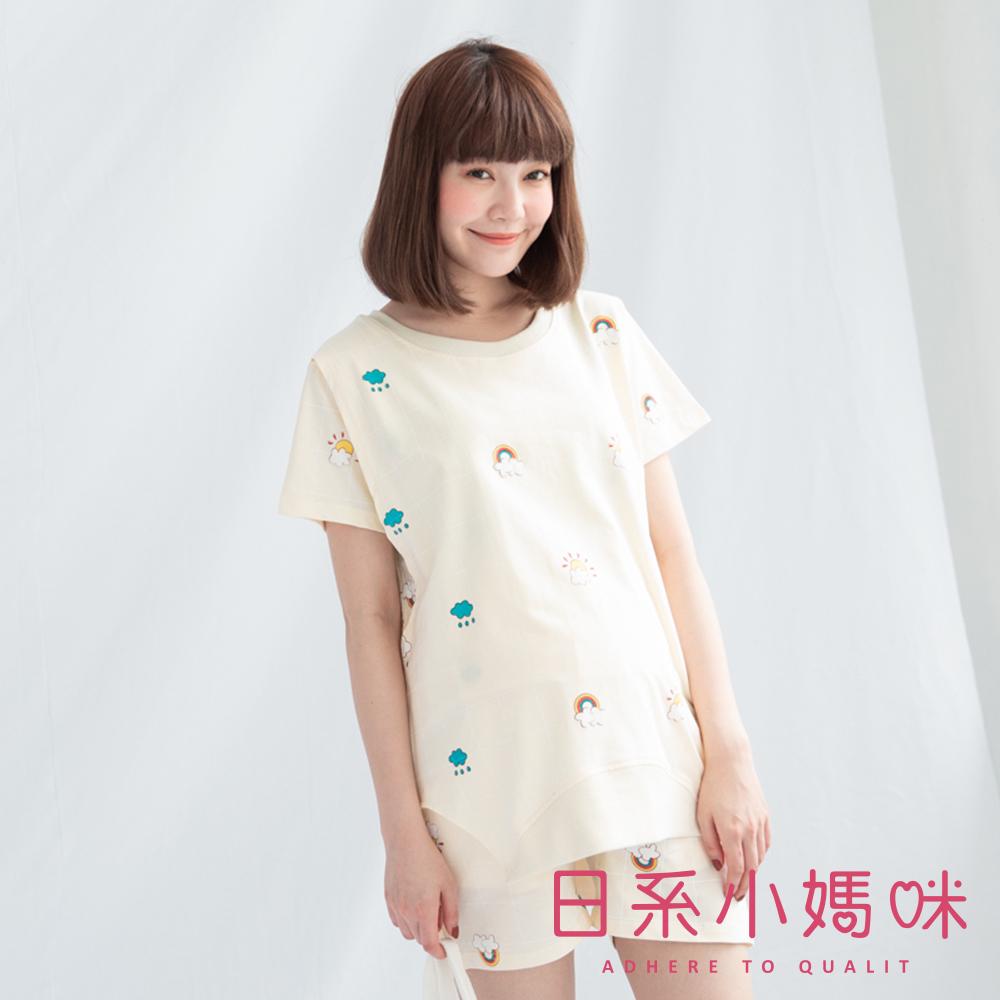 日系小媽咪孕婦裝-哺乳衣~輕巧可愛小圖案格子套裝 M-L (共三色)