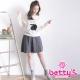 betty-s貝蒂思-直條腰間綁結排扣中長裙-灰色