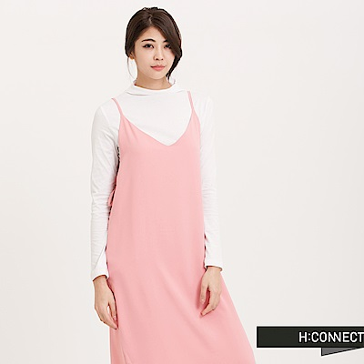 H:CONNECT 韓國品牌 女裝 - 側雙綁帶細肩洋裝 - 粉