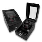 機械錶自動上鍊收藏盒 1旋2入錶座轉動+3入收藏 高質感碳纖維-黑色