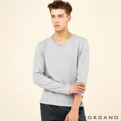 GIORDANO 男裝簡約素色輕磨毛羅紋V領長袖T恤 - 02 中花灰色