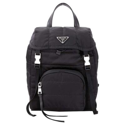 PRADA Bomber 三角牌雙釦尼龍鋪棉後背包(黑色)